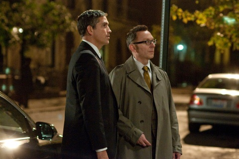 CBS's eye on America: Caviezel and Emerson are watching you.