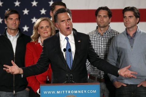 Mitt Romney And Supporters Attend Caucus Night Event