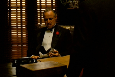 Vito Corleone with Cat in The Godfather