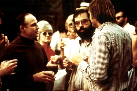 Marlon Brando and Francis Ford Coppola on the Set of The Godfather