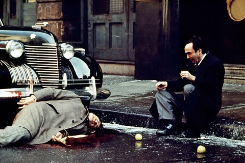 Oranges Roll By a Fallen Vito Corleone in The Godfather