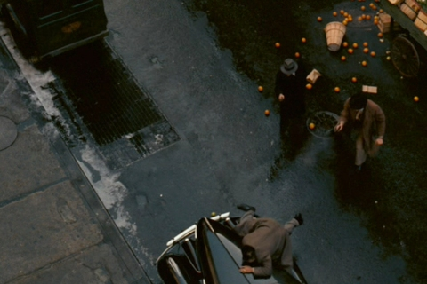 A God's Eye Shot of Vito Getting Shot in The Godfather