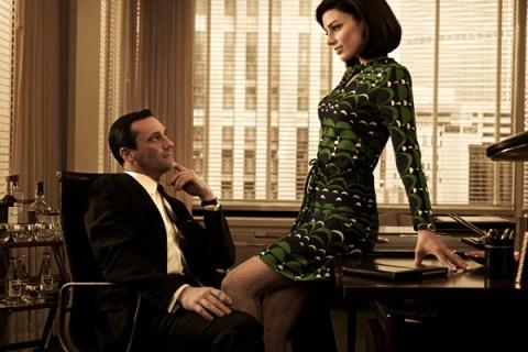 Don (Jon Hamm) and Megan Draper (Jessica Pare), in a scene from Season 5