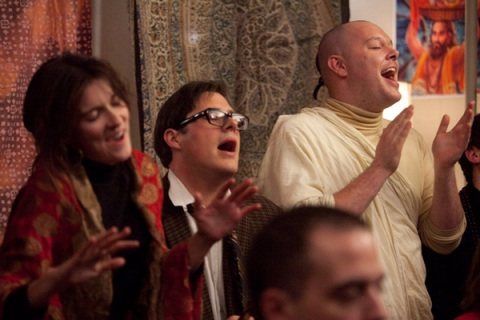 Lakshmi Bennett (Anna Wood), Harry Crane (Rich Sommer) and Paul Kinsey (Michael Gladis) in Mad Men, Season 5, Episode 10