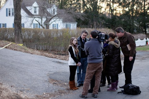 image: Jordan Stofko, a seventh-grader at Newtown Middle School who also attended Sandy Hook Elementary, was interviewed with her father near her home on Friday, December 14, 2012.