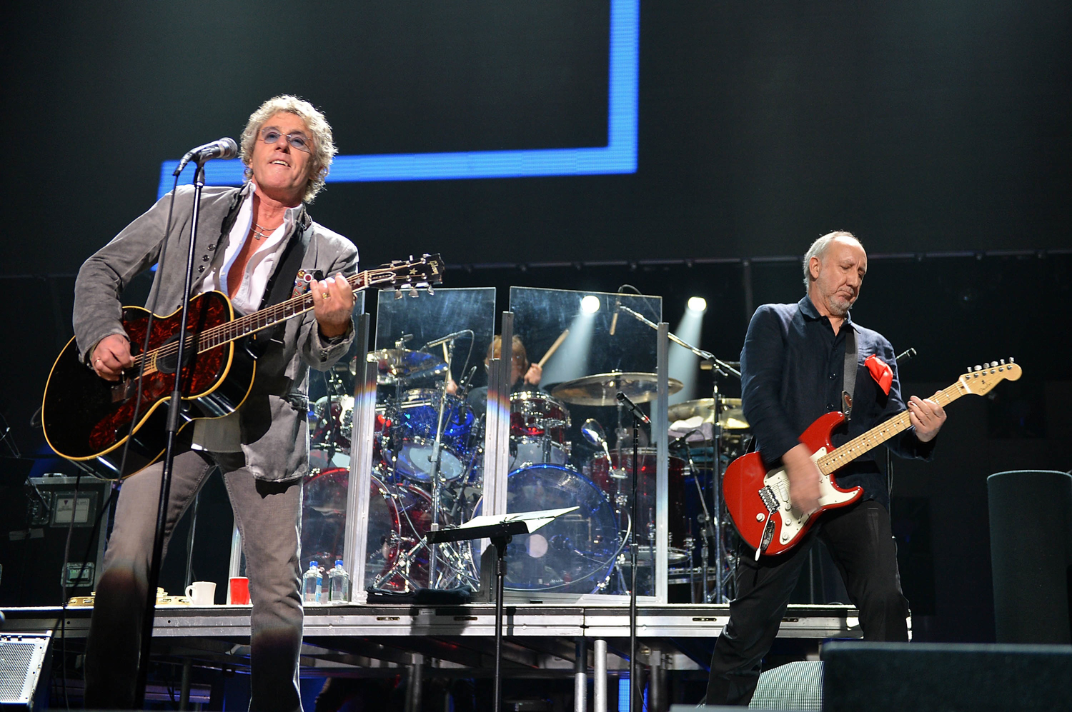 Roger Daltrey (L) and Pete Townshend of The Who perform