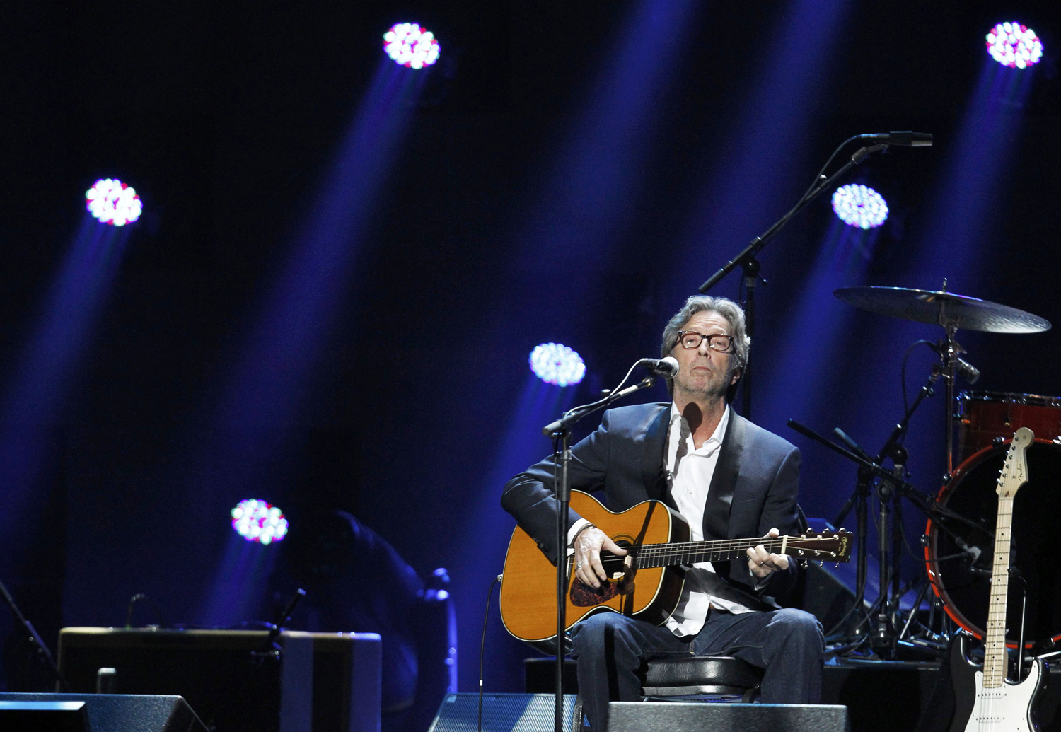 "Eric Clapton performs during the ""12-12-12"" benefit concert for victims of Superstorm Sandy at Madison Square Garden in New York"