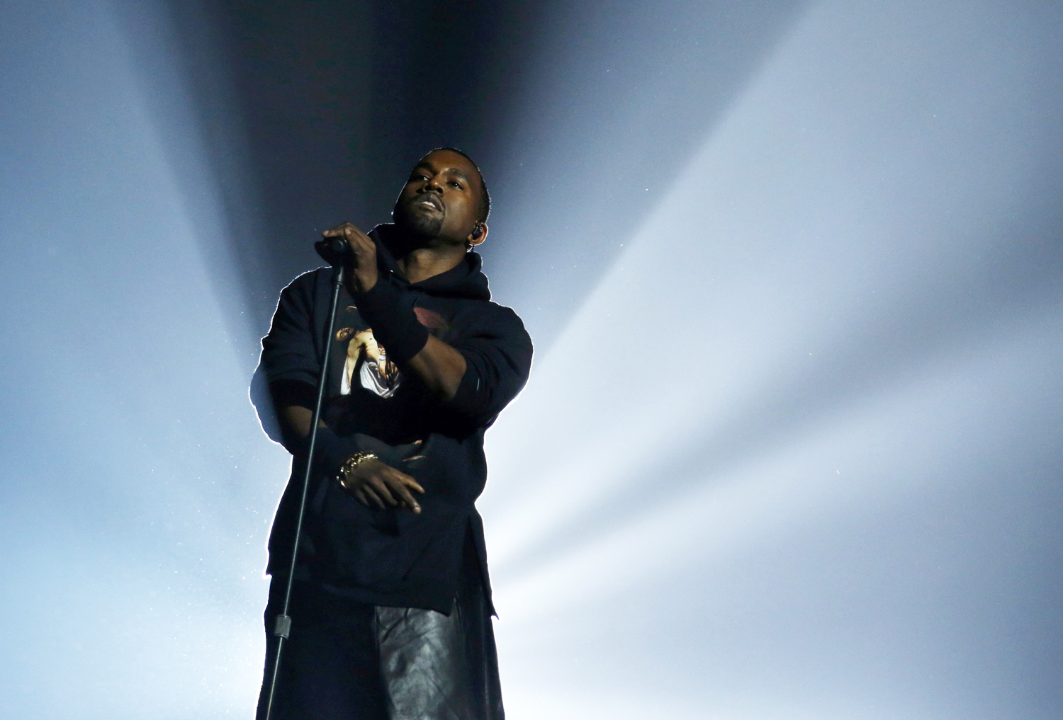 "Kanye West performs during the ""12-12-12"" benefit concert for victims of Superstorm Sandy at Madison Square Garden in New York"