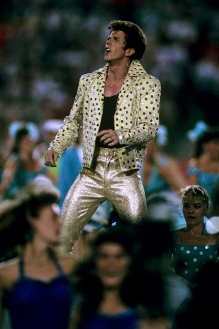 Elvis Presto performs during the halftime show during the San Francisco 49ers against the Cincinnati Bengals in Super Bowl XXIII at Joe Robbie Stadium in Miami, Fla., on Jan. 22, 1989.