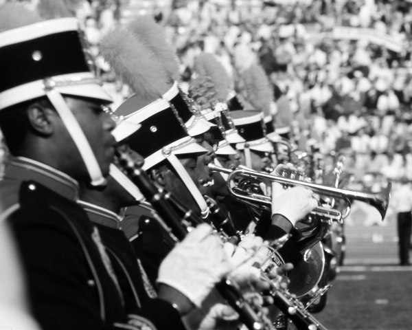 The Grambling State marching band performs during halftime of Super Bowl I, Jan. 15, 1967.
