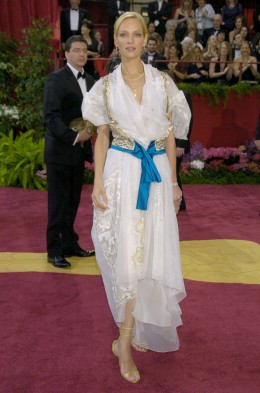 Uma Thurman at the Academy Awards on Feb. 29, 2004.