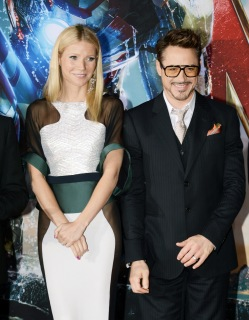 From Left: Actors Gwyneth Paltrow and Robert Downey Jr. arrive at the premiere of Walt Disney Pictures' Iron Man 3 at the El Capitan Theatre in Hollywood on April 24, 2013.