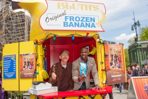 "From left: Director Ron Howard and Terry Crews attend the ""Arrested Development"" Bluth's Original Banana Stand Second Location at Columbus Circle in New York City Opening, on May 14, 2013."