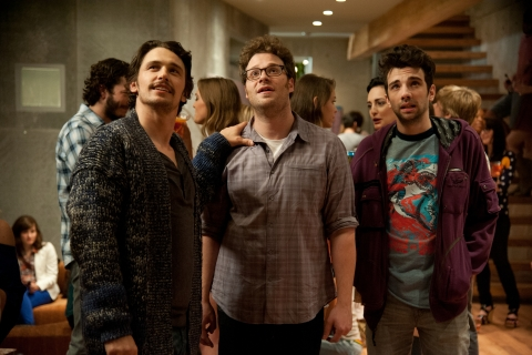 "From left: James Franco, Seth Rogen and Jay Baruchel in Columbia Pictures' ""The End of the World."""