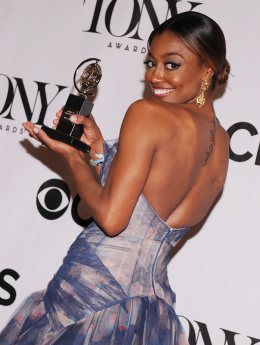 Actress Patina Miller, winner of the award for Best Performance by a Leading Actress in a Musical for 'Pippin' poses in the press room at the 2013 Tony Awards at Radio City Music Hall in New York,June 9, 2013