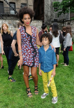From left: Solange Knowles and her son Julez attend the Stella McCartney Spring 2012 Presentation at Stella McCartney Store in New York City, on June 11, 2012.