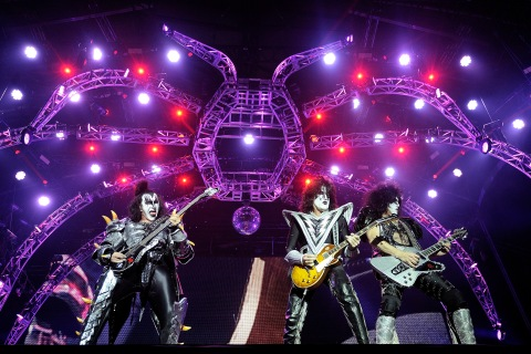 Kiss performs on stage during the Hellfest Heavy Music Festival in Clisson, western France, on June 22, 2013.