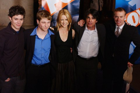 """The O.C. cast members Adam Brody, Benjamin McKenzie, Kelly Rowan, Peter Gallagher and Tate Donovan arrive for the """"Fox Upfront Previews 2003-2004"""" May 15, 2003 at Grand Central in New York City."""