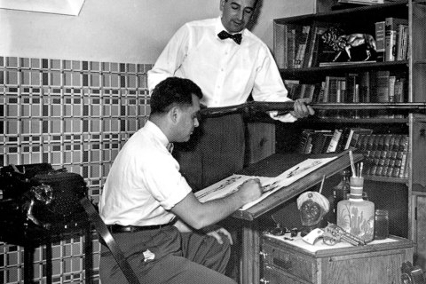 Jack Kirby, left, and Joe Simon, co-creators of the Captain America comic.