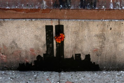 """The """"Twin Towers in Tribeca"""" art installation created by British street artist Banksy is seen down in Tribeca in New York City,Oct. 15, 2013."""