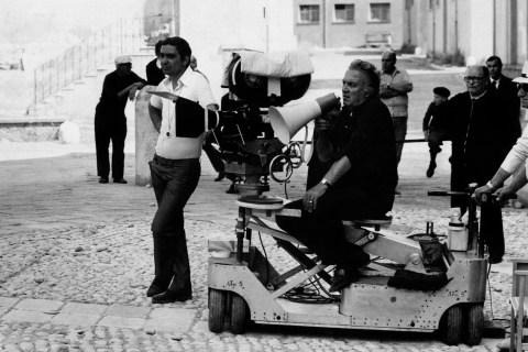 Federico Fellini and Giuseppe Rotunno on the set of a film
