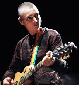 Irish singer Sinead O'Connor performs on August 11, 2013 in Lorient, western of France.