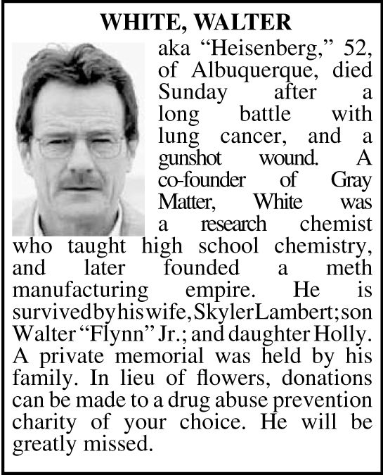 Walter White obituary in Albuquerque Journal