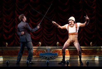 "Bryce Pinkham, left, and Jefferson Mays during a performance of ""A Gentleman's Guide to Love and Murder,"" at the Walter Kerr Theatre in New York"