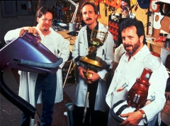 """Mystery Science Theater 3000 - Puppeteers, from left, Jim Mallon, Trace Beaulieu and Kevin Murphy pose on the set of """"Mystery Science Theater 3000: The Movie"""""""