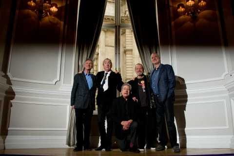 From left: British comedy troupe Monty Python, Michael Palin, Eric Idle, Terry Jones, Terry Gilliam and John Cleese pose for a photograph during a media event in central London on Nov. 21, 2013.
