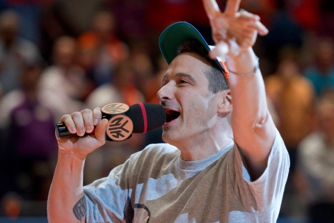 Beastie Boys member Horovitz urges on the fans before the New York Knicks play the Boston Celtics in Game 4 in New York