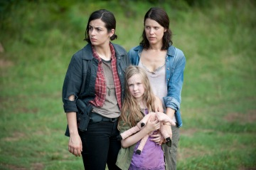 Tara (Alana Masterson), Meghan (Meyrick Murphy) and Lilly (Audrey Marie Anderson) - The Walking Dead _ Season 4, Episode 7 - Photo Credit: Gene Page/AMC