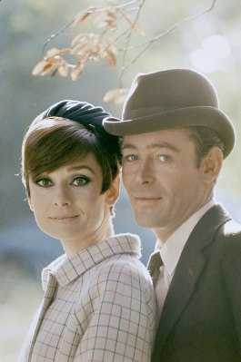"Peter O'Toole and Audrey Hepburn on the set of ""How to Steal A Million."""
