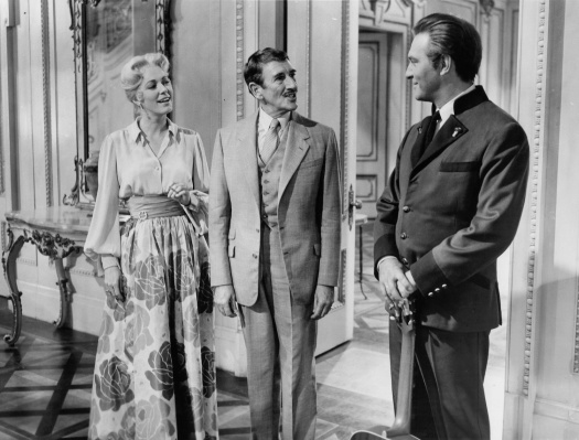 Eleanor Parker and Richard Haydn are greeted by Christopher Plummer in a scene from the film 'The Sound Of Music', 1965
