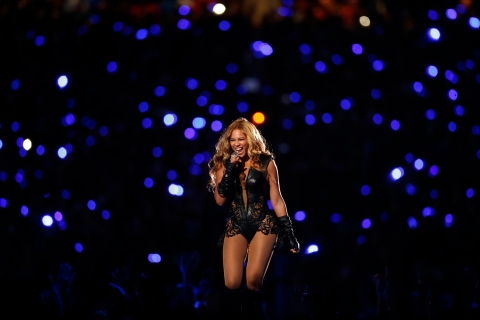 Beyonce performs during half-time show of NFL Super Bowl XLVII football game in New Orleans
