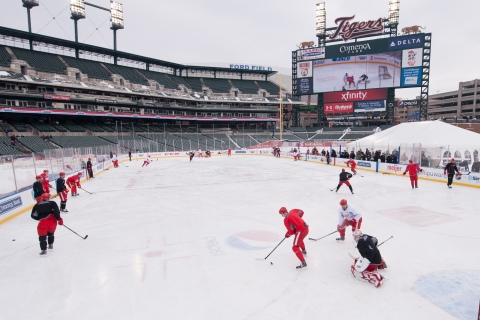 The Detroit Red Wings skate during practice on the the outdoor hockey rink at Comerica Park, home of the Detroit Tigers baseball team, on Dec. 18, 2013, in Detroit.