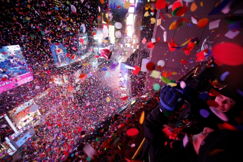 Confetti is dropped on revelers at midnight during New Year's Eve celebrations in Times Square in New York City, on  Jan. 1, 2013.