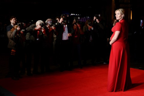 Kate Winslet arrives for the 'Labor Day' premiere  at the May Fair Hotel in London, on Oct. 14, 2013.