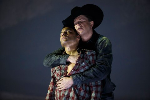 American tenor Tom Randle and Canadian bass-baritone Daniel Okulitch perform during a dress rehearsal for Brokeback Mountain at the Teatro Real in Madrid
