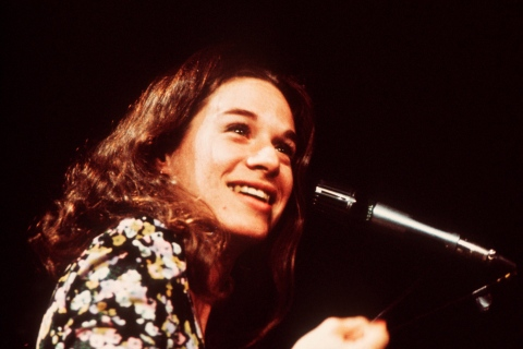 Carole King performs on stage in London, in 1972.