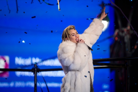 Singer Miley Cyrus performs during New Year's Eve celebrations at Times Square in New York