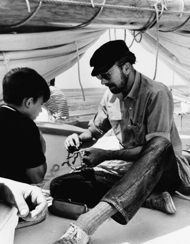 Folk singer Pete Seeger aboard his boat, the sloop Clearwater, on Aug. 12, 1969, sailing from Massachusetts to New York City.