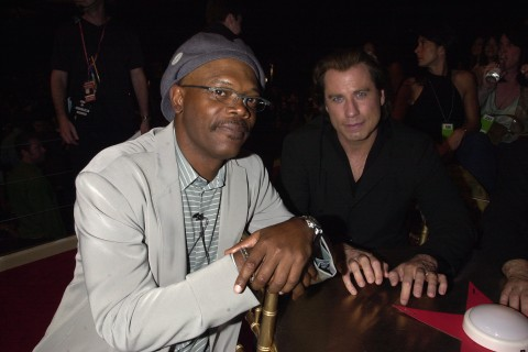 Samuel L. Jackson and John Travolta at the 2001 MTV Movie Awards.