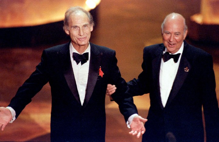 Television comedy legends Sid Caesar (L) and Carl Reiner are greeted by the audience September 10 at..