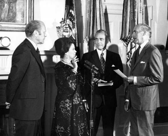 From left: U.S. President Gerald Ford watches as Shirley Temple Black is sworn in as new Chief of Protocol in Cabinet Room of the White House, in Washington, D.C., in 1976.